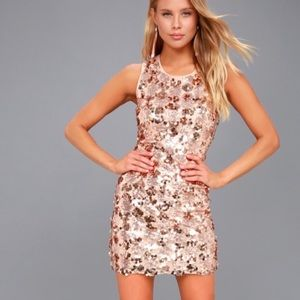 Lulus Rose Gold sequin dress